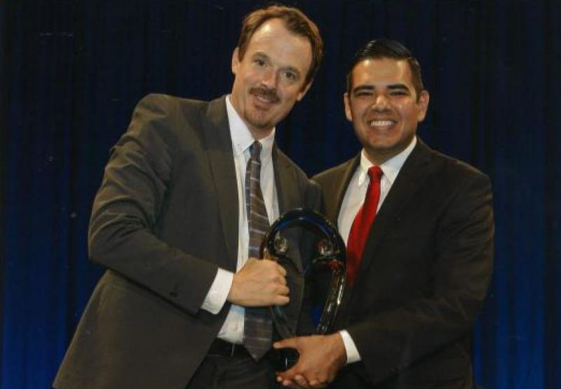 Tyson Sayles and Long Beach Mayor Robert Garcia